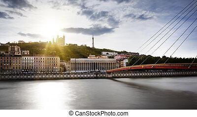 πόλη , lyon , saone , ηλιοβασίλεμα , ποτάμι , αρχή , βλέπω