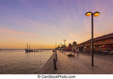 πόλη , olhao , αγορά , προκυμαία , algarve., βλέπω , ηλιοβασίλεμα , formosa , ria