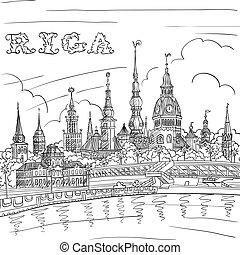 πόλη , riga , daugava, λατβία , γριά , ποτάμι