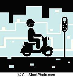 πόλη , streets., pictogram , πρόσωπο , μοτοσικλέτα , ιππασία