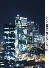 πόλη , tel , - , aviv , γραμμή ορίζοντα , νύκτα