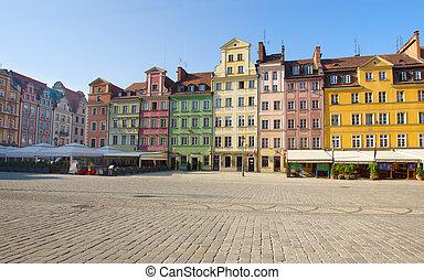πόλη , wroclaw, τετράγωνο , γριά , αγορά