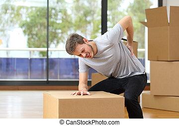 πόνος , πίσω , κουτιά , συγκινητικός , πόνος , άντραs