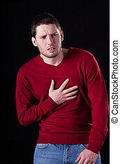 πόνος στο στήθος , έχει , άντραs