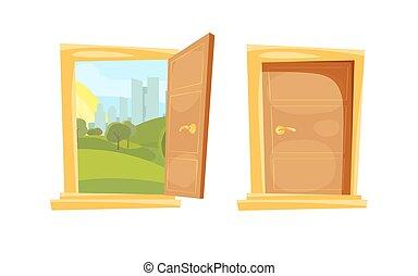 πόρτα , ανοιγμένα , πίσω , ηλιοβασίλεμα , κλειστός , τοπίο