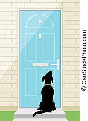 πόρτα , σκύλοs