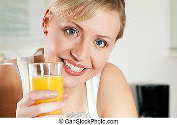 πόσιμο , γυναίκα , orangejuice