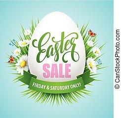 πόσχα , πώληση , φόντο , με , αυγά , και , άνοιξη , flower., μικροβιοφορέας , εικόνα