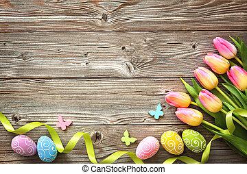 πόσχα , φόντο , με , γραφικός , αυγά , και , άνοιξη , τουλίπα