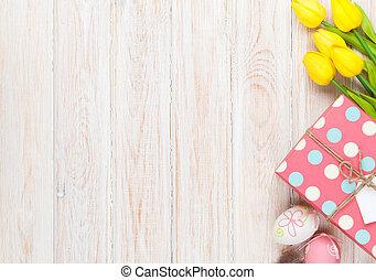 πόσχα , φόντο , με , γραφικός , αυγά , και , κίτρινο , τουλίπα