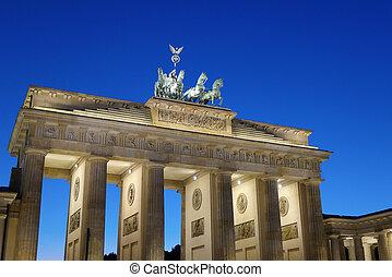 πύλη , βερολίνο , brandenburg , λυκόφως