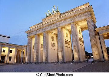 πύλη , βερολίνο , brandenburg , νύκτα