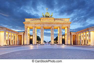 πύλη , βερολίνο , brandenburg , - , νύκτα