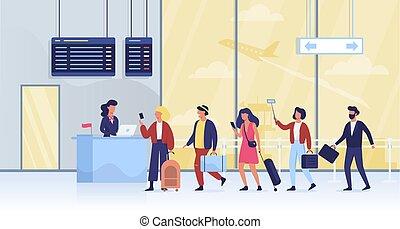 πύλη , ουρά , αποσκευέs , αεροδρόμιο. , άνθρωποι
