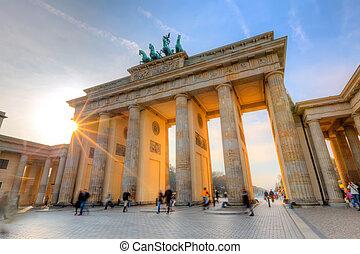 πύλη , brandenburg , ηλιοβασίλεμα