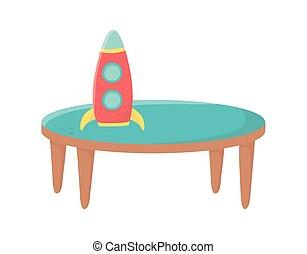 πύραυλοs , παιχνίδι , πλαστικός , άθυρμα , τραπέζι , μικρόκοσμος