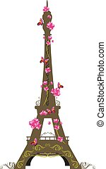 πύργος του αΐφελ , με , λουλούδια