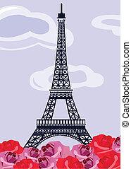 πύργος του αΐφελ , με , retro , τριαντάφυλλο