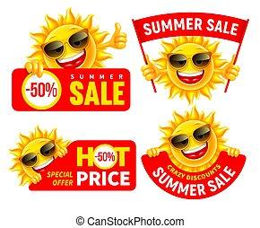πώληση , θέτω , ιλαρός , γράμμα , γελοιογραφία , ανακοινώνω , καλοκαίρι , ήλιοs