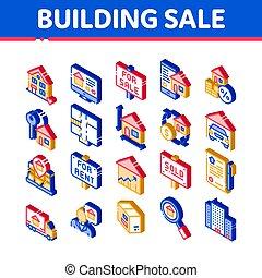 πώληση , σπίτι , κτίριο , μικροβιοφορέας , θέτω , απεικόνιση , isometric