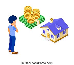 πώληση , υποθηκεύω , αγοράζω , σπίτι , isometric , ενοικιάζω