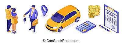 πώληση , isometric , ενοίκιο άμαξα αυτοκίνητο , ασφάλεια , μοιρασιά