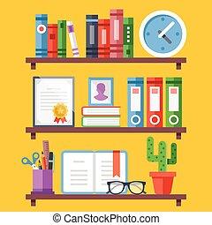 ράφια βιβλιοθήκης , με , διαφορετικός , αντικειμενικός σκοπός