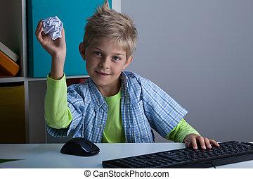 ρίψη , αγόρι , μπάλα , χαρτί