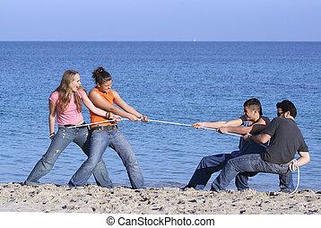 ρεμουλκαδόρος από πόλεμος , εφηβική ηλικία , παίξιμο , επάνω , παραλία , επάνω , ακμή άδεια , ή , άλμα αθετώ