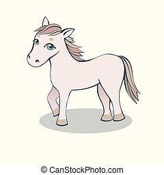 ροζ , άλογο , ελαφρείς , φόντο , μικρό , γελοιογραφία