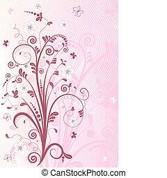 ροζ , άνθινος , κορνίζα , (vector)