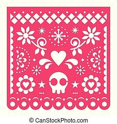 ροζ , αναπτύσσομαι , κρανίο , picado, μεξικό , γιορτή , papel, μικροβιοφορέας , διακόσμηση , χαρτί , retro , μεξικάνικος , γεωμετρικός , λουλούδια , σχεδιάζω