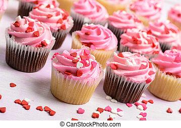 ροζ , γενέθλια , cupcakes