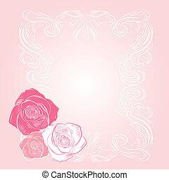ροζ , γλυκός , κορνίζα , τριαντάφυλλο