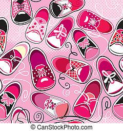 ροζ , δεσποινάριο , πρότυπο , - , seamless, gumshoes, σχεδιάζω , φόντο , παιδιά
