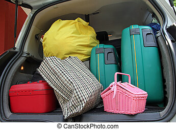 ροζ , ειδών ή πραγμάτων άμαξα αυτοκίνητο , κιβώτιο , δυο , διακοπές , τσάντα , αγίνωτος βαλίτσα , έτοιμος , σκουπίδια