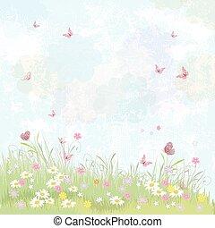 ροζ , καλοκαίρι , λιβάδι , butterflies., φόντο. , άνθινος