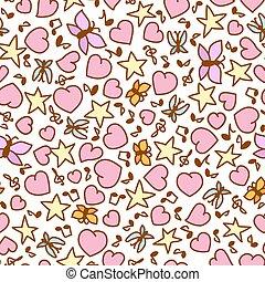 ροζ , καρδιά , βλέπω , πρότυπο , seamless, εικόνα , πεταλούδες , μικροβιοφορέας , αστέρας του κινηματογράφου , γελοιογραφία