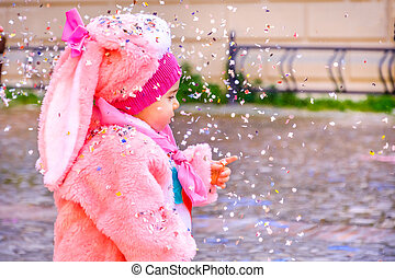 ροζ , καρναβάλι , κομφετί , κοστούμι , μωρό , λαγουδάκι