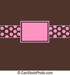ροζ , καφέ , προσκαλώ , & , πόλκα dot
