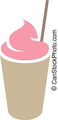 ροζ , καφέ , frappuccino, άχυρο , απομονωμένος , εικόνα ,...
