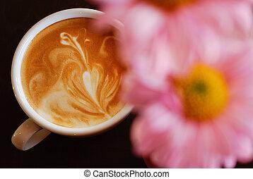 ροζ , καφέs , λουλούδι , κύπελο , μαύρο , άσπρο