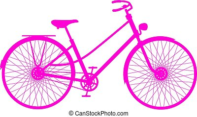 ροζ , περίγραμμα , από , retro , ποδήλατο