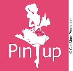ροζ , περίγραμμα , φόντο , ακινητώ ανακριτού , pin-up , τρέξιμο , retro , λόγια , κορίτσι , διαταγή , σερβιτόρα