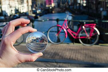 ροζ , ποδήλατο , μέσα , amsterdam