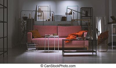 ροζ , πραγματικός , διαμέρισμα , τέχνη , νύκτα , ράφια , φωτογραφία , αφαιρώ , πίνακες ζωγραφικής , μέταλλο , μαξιλάρι , collector's, μέσο , γεμάτος , πούδρα , καναπέs , πορτοκάλι , γινώμενος , κουβέρτα , βλέπω