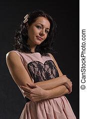ροζ , χαριτωμένος , γυναίκα , φόρεμα