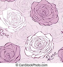 ροζ , seamless, πρότυπο , με , τριαντάφυλλο