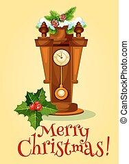 ρολόι , δέντρο , χαιρετισμός , πεύκο , έτος , καινούργιος , κάρτα