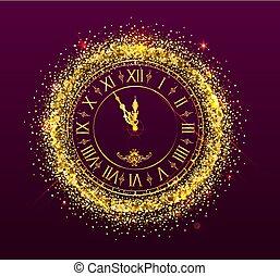 ρολόι , δείχνω , καινούργιος , xριστούγεννα , χρόνια , ζεσεεδ , παρακολουθώ , χρυσαφένιος , παραμονή , μεσάνυκτα , δίσκοs τηλεφώνου